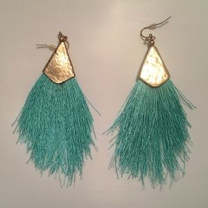 """EUC Gold """"Plated"""" and Turquoise Tassel Earrings"""